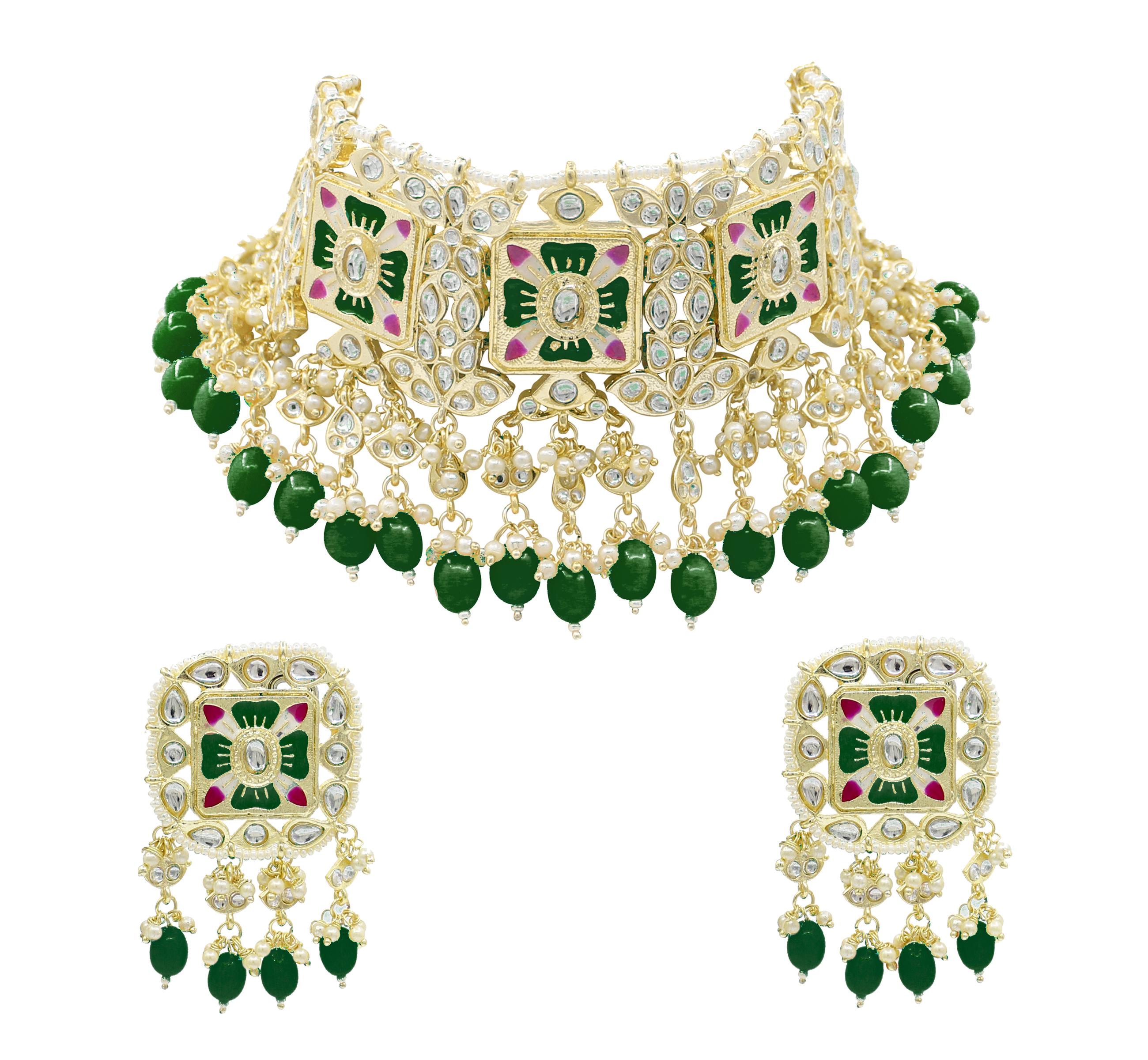 Meenakari Kundan & Beads Green Choker Necklace Earring Jewellery Set