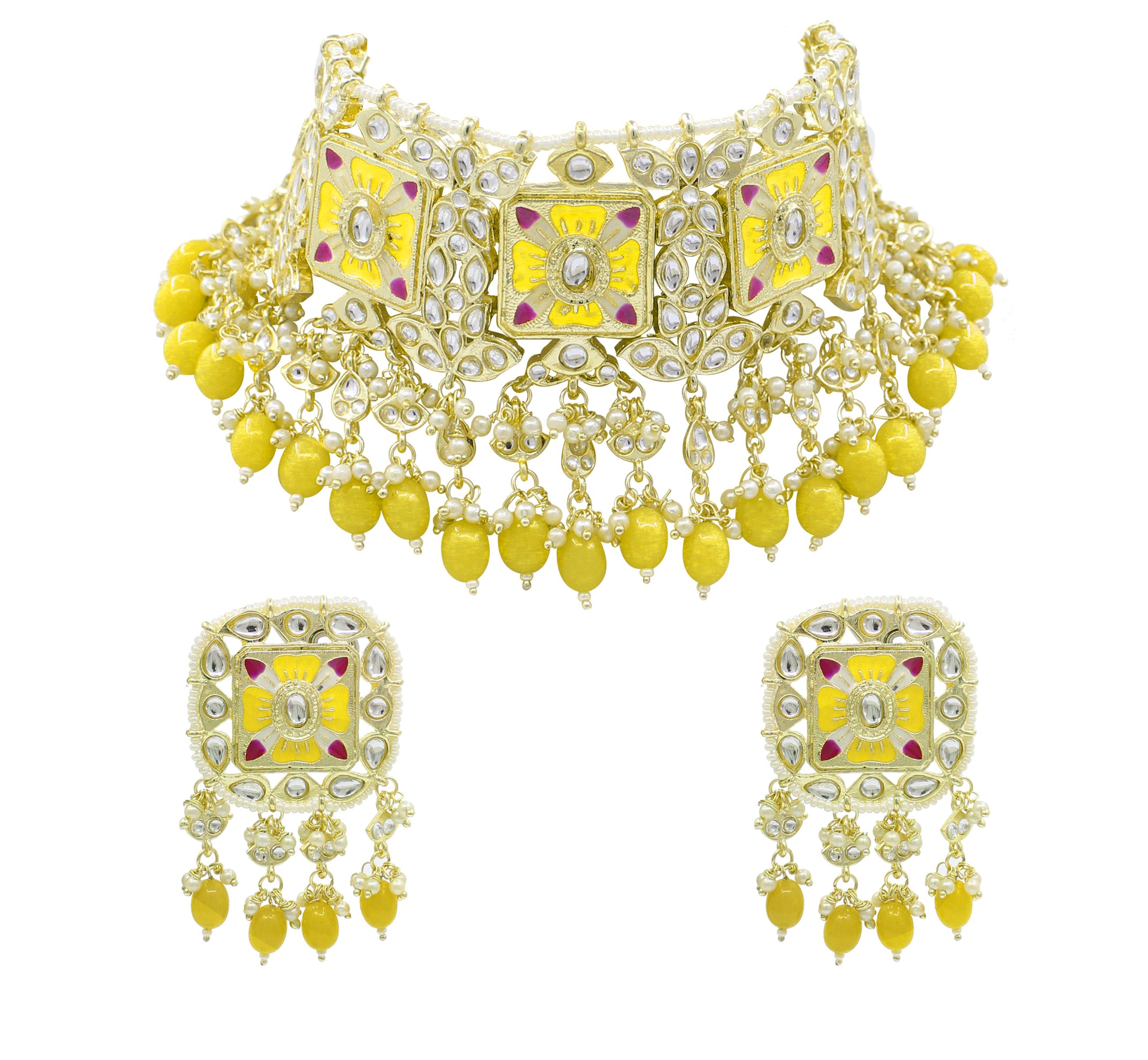 Meenakari Kundan Yellow Color Choker Necklace Earring Jewellery Set