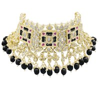 Meenakari Kundan & Beads Gold Plated Black Color Choker Necklace Set