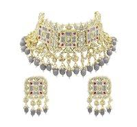 Traditional Design Meenakari Kundan Grey Color Choker Necklace Earring Set