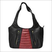 Handmade Napa Leather Black and Red Handbag