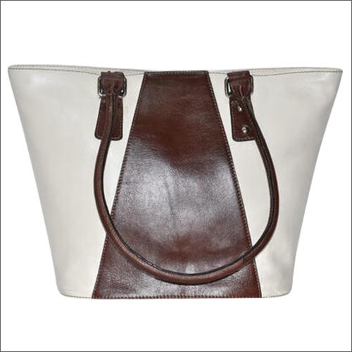 Handmade Vegetable Tanned Leather White And Brown Handbag