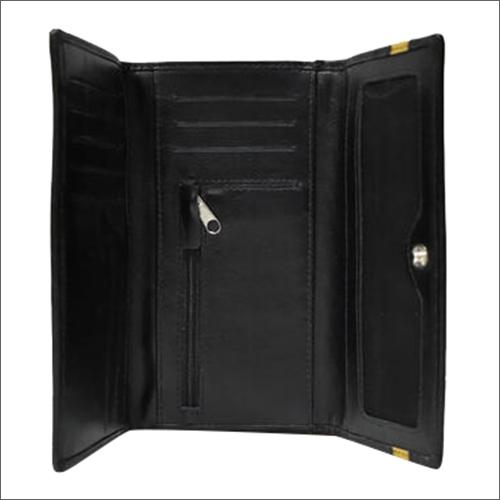 Vegetable Tanned Leather Black Ladies Wallet