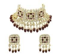 Meenakari Kundan & Beads Brown Color Choker Necklace Earring Set
