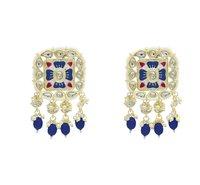 Meenakari Kundan Blue Color Choker Necklace Earring jewellery Set