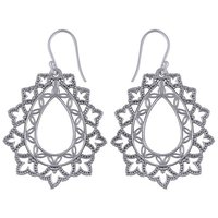 GORGEOUS HAND WORK AROUND PLAIN 925 STERLING SOLID SILVER EARRINGS