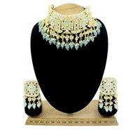 Traditional Design Meenakari Kundan Sky Blue Color Choker Necklace Set