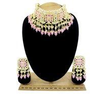 Meenakari Kundan Pink Color Choker Necklace Earring jewellery Set