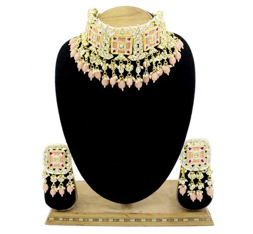 Meenakari Kundan Peach Color Choker Necklace Earring Jewellery Set Gender: Women