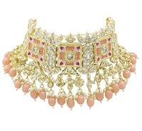 Meenakari Kundan Peach Color Choker Necklace Earring jewellery Set