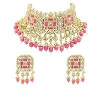 Traditional Design Meenakari Kundan Baby Pink Color Choker Necklace Set