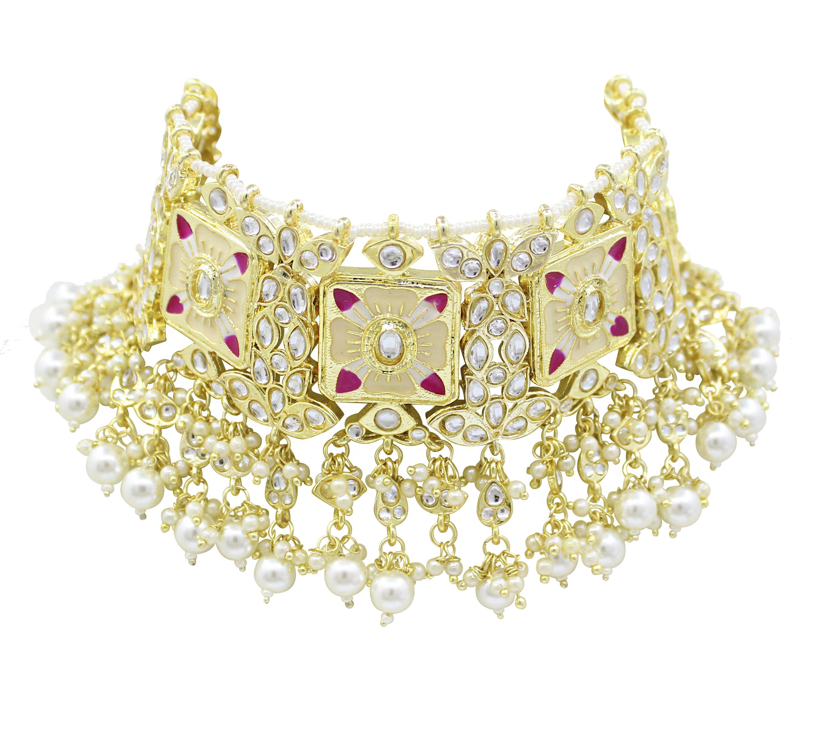 Traditional Design Meenakari Kundan White Color Choker Necklace Set