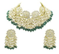 Gold Tone Kundan & Pearl Traditional Choker Necklace And Earring Set For Women & Girls