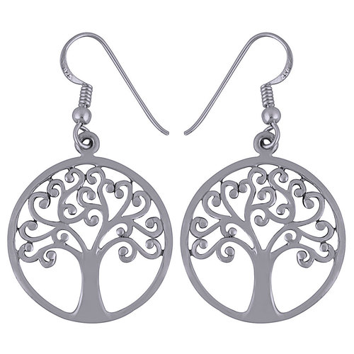 ROUND TREE FRAME PLAIN 925 STERLING SOLID SILVER EARRINGS