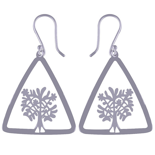 TRIANGLE TREE FRAME PLAIN 925 STERLING SOLID SILVER EARRINGS