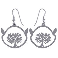 TREE FRAME PLAIN 925 STERLING SOLID SILVER EARRINGS