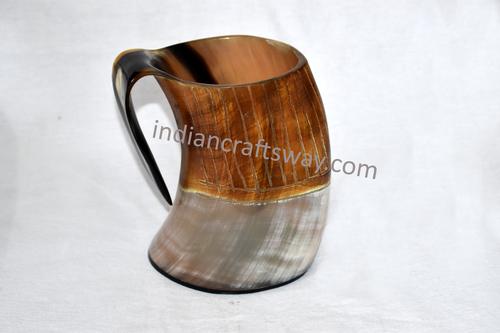 Viking drinking brown horn mug with wooden base