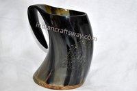 Horn mug wolf design with wooden base