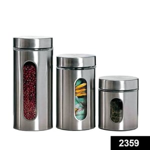 2359 Stainless Steel Jar With Visible Container Glass Window & Airtight Lid (Pack Of 3) (325ml,500ml,740ml)