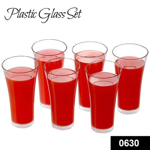 0630 Stylish Look Plastic Juicy Glass, Transparent Glasses Set 300ml (6pcs)