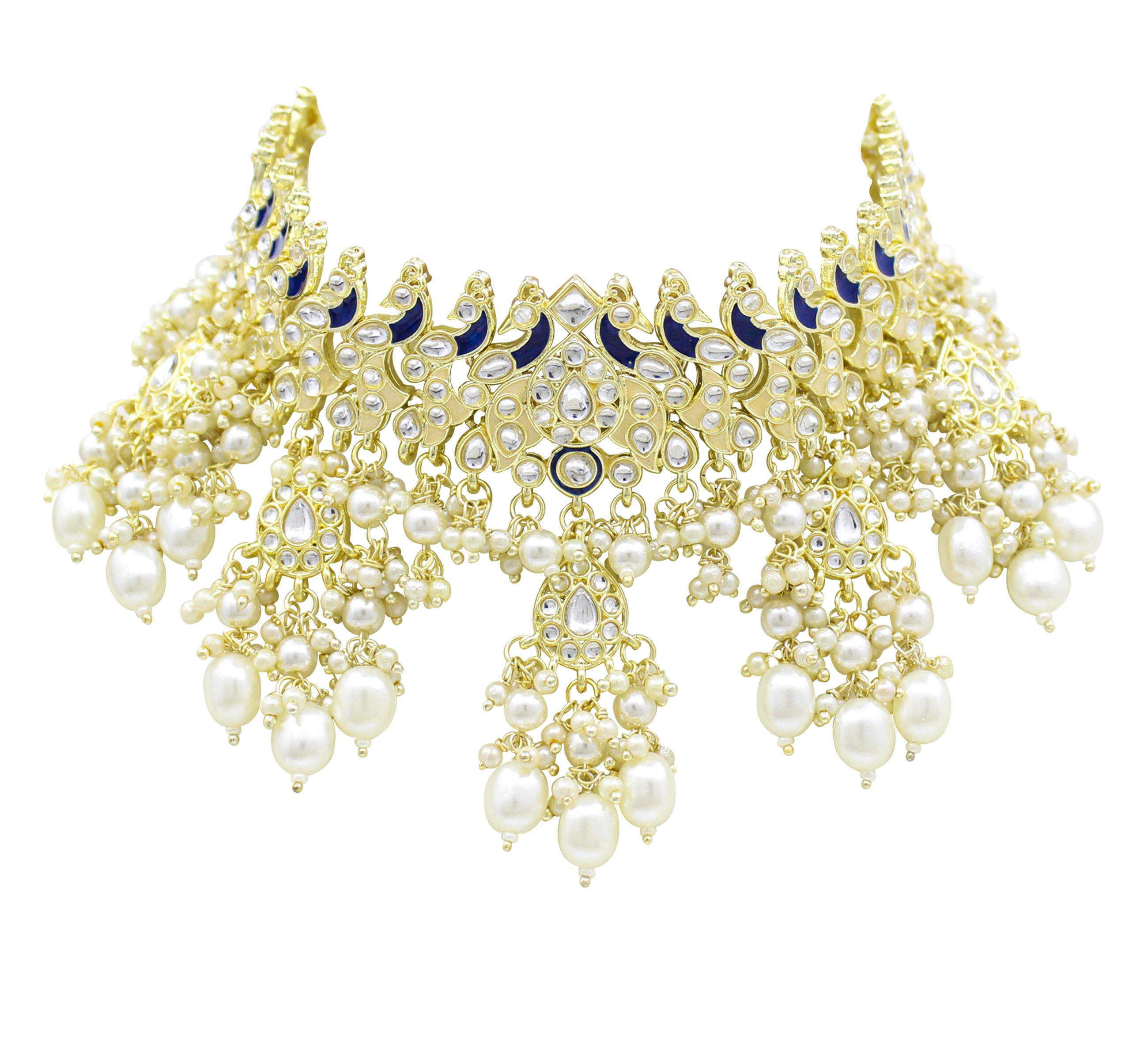 Peacock Design Meenakri Work Kundan Choker Necklace Set