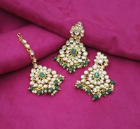 Ethnic Design Party Wear Gold Plated Choker Necklace Earring With Maangtikka Jewellery Set