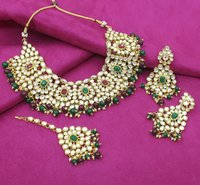 Ethnic Design Party Wear Gold Plated Multi Color Choker Necklace Earring With Maangtikka Jewellery Set
