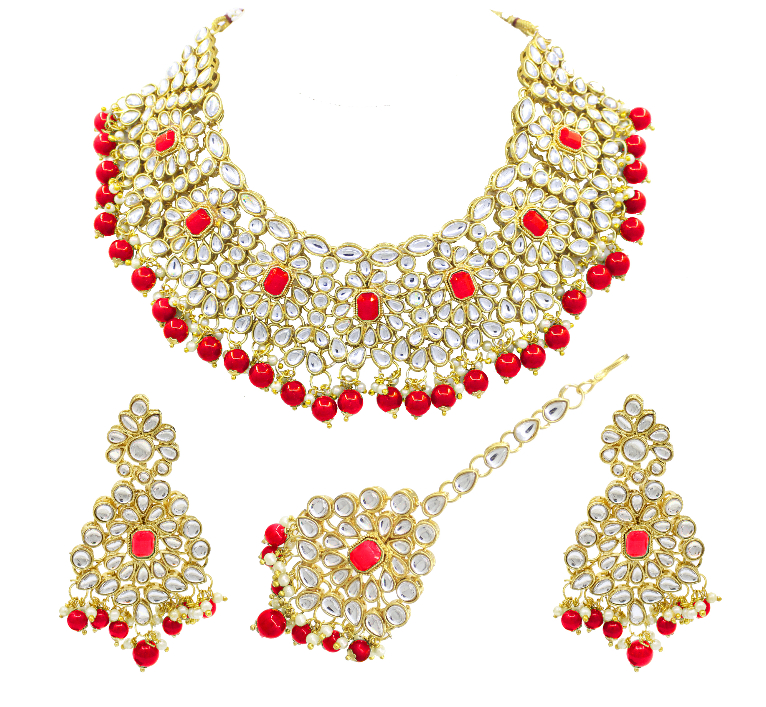 Ethnic Design Party Wear Red Color Choker Necklace Earring With Maangtikka Jewellery Set