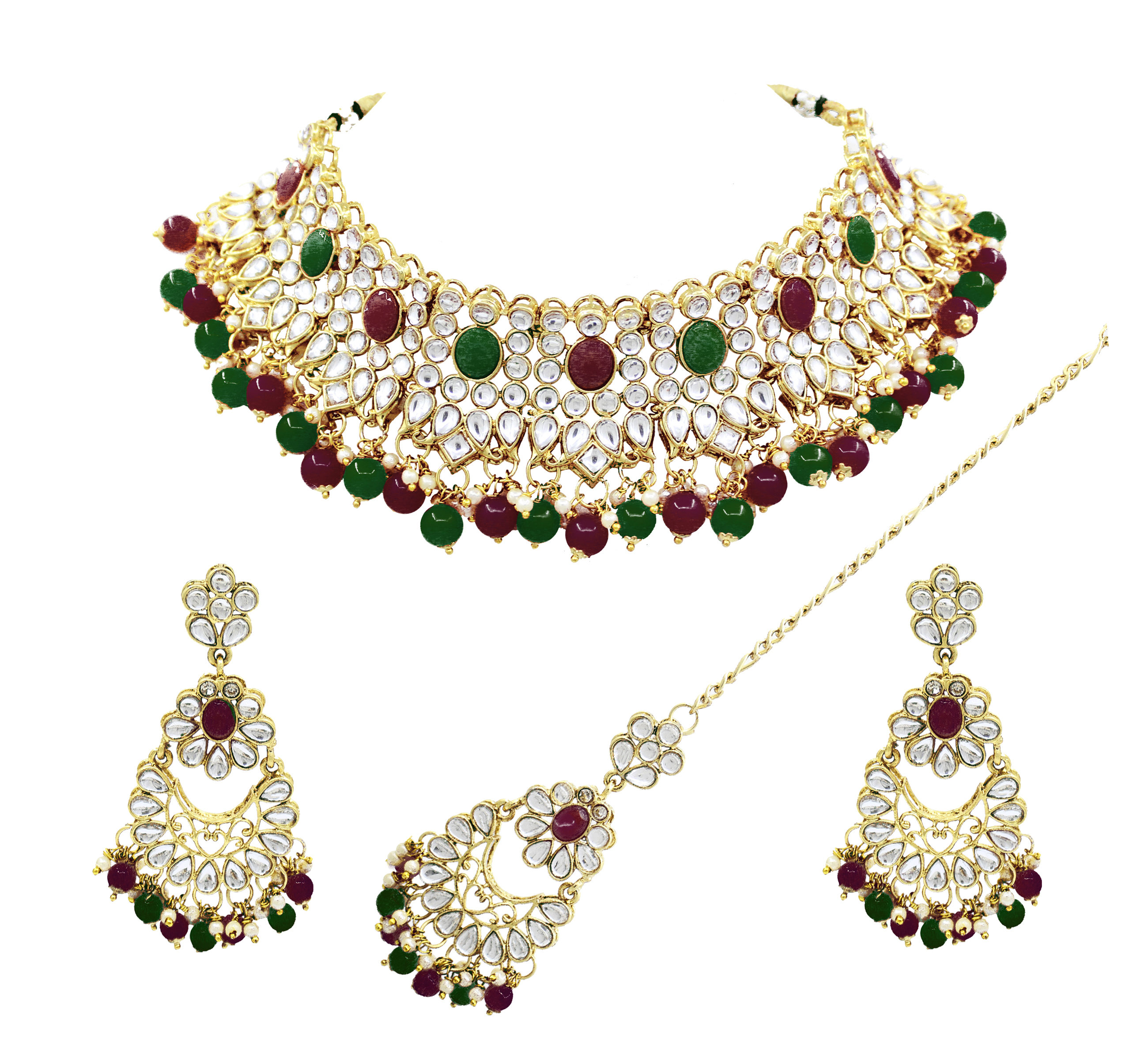 Party Wear Gold Plated Choker Necklace Earring With Maangtikka Jewellery Set