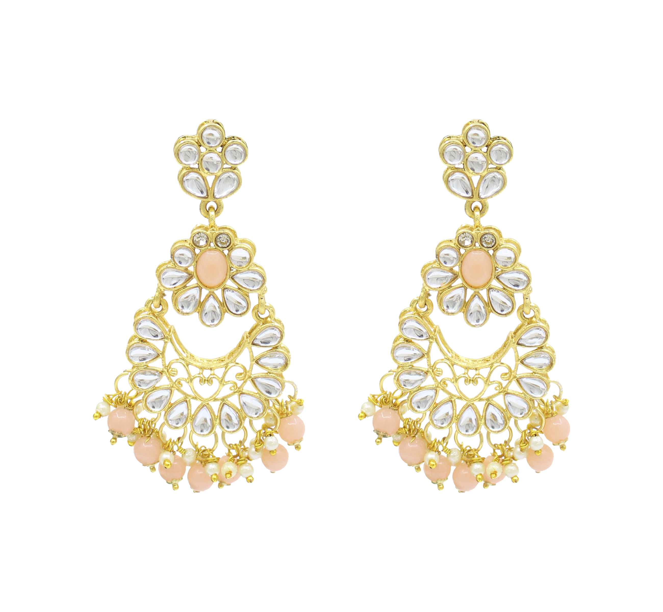 Party Wear Kundan Gold Plated Peach Color Choker Necklace Earring With Maangtikka Jewellery Set