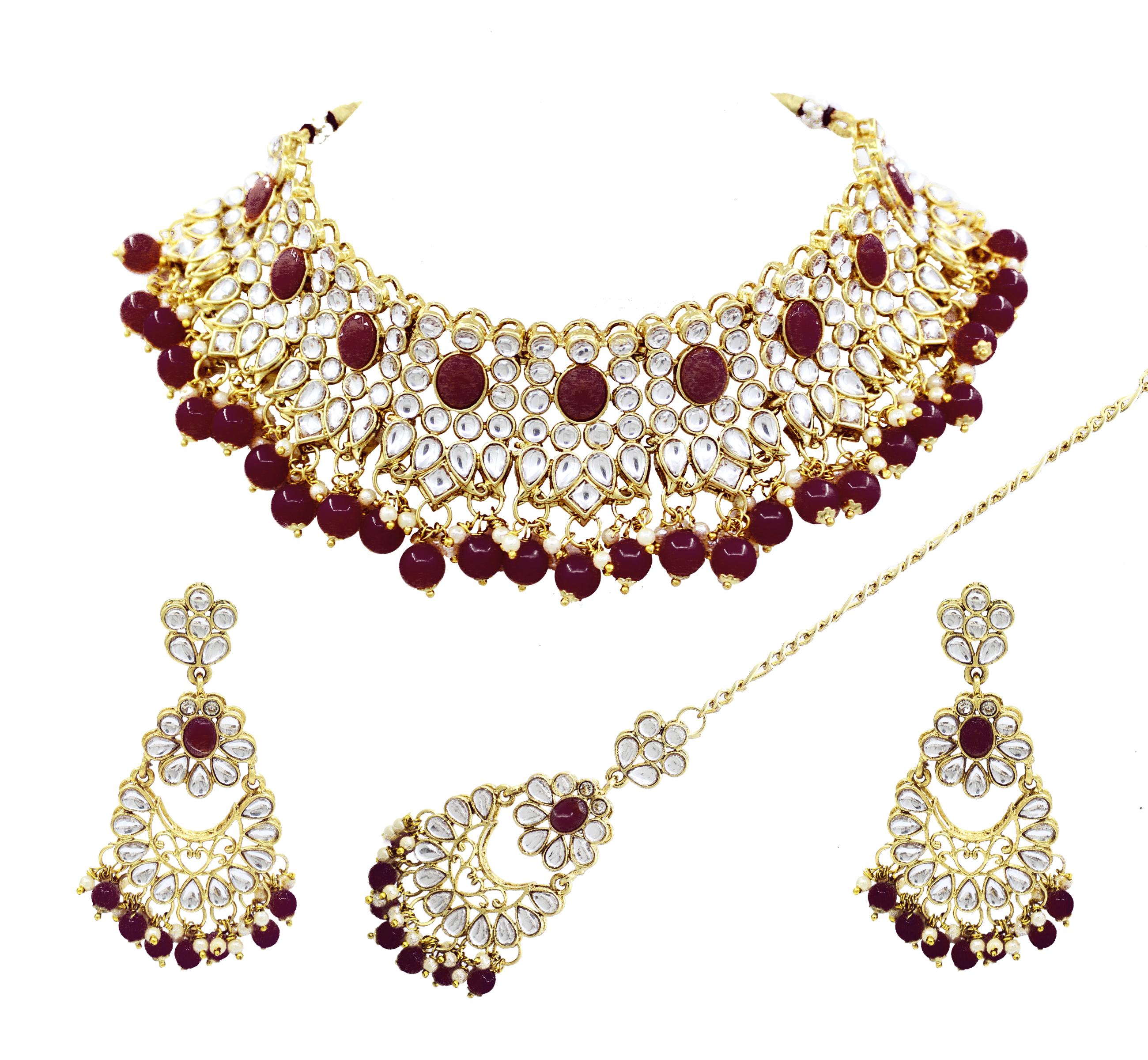 Party Wear Gold Plated Maroon Color Kundan Choker Necklace Earring With Maangtikka Jewellery Set