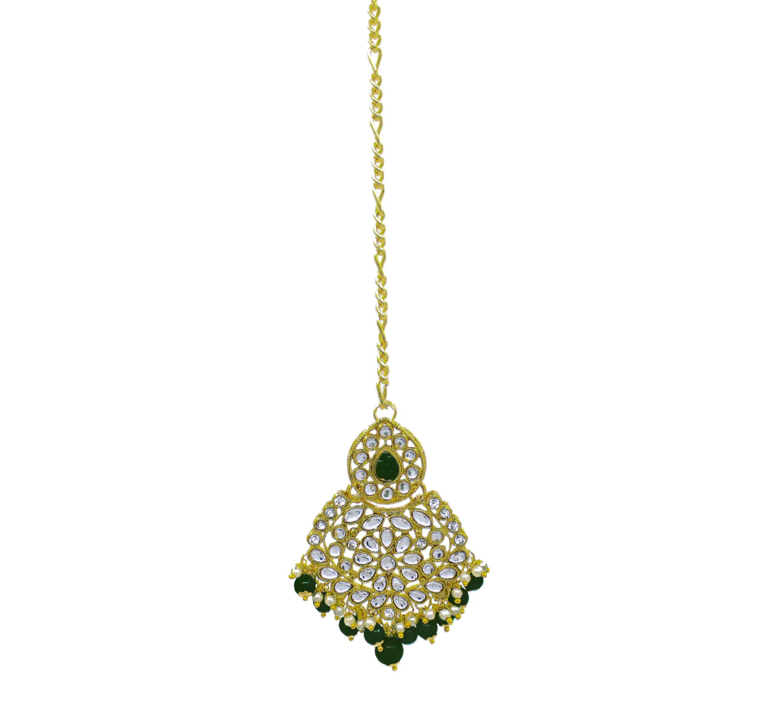 Wedding Collection Kundan Stone Work Green Color Choker Necklace Set