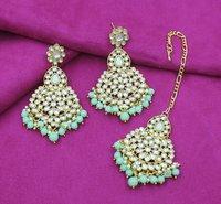 Wedding Collection Kundan Stone Work Mint Color Choker Necklace Set