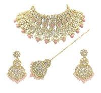 Traditional Design Kundan Stone Work Choker Necklace Set
