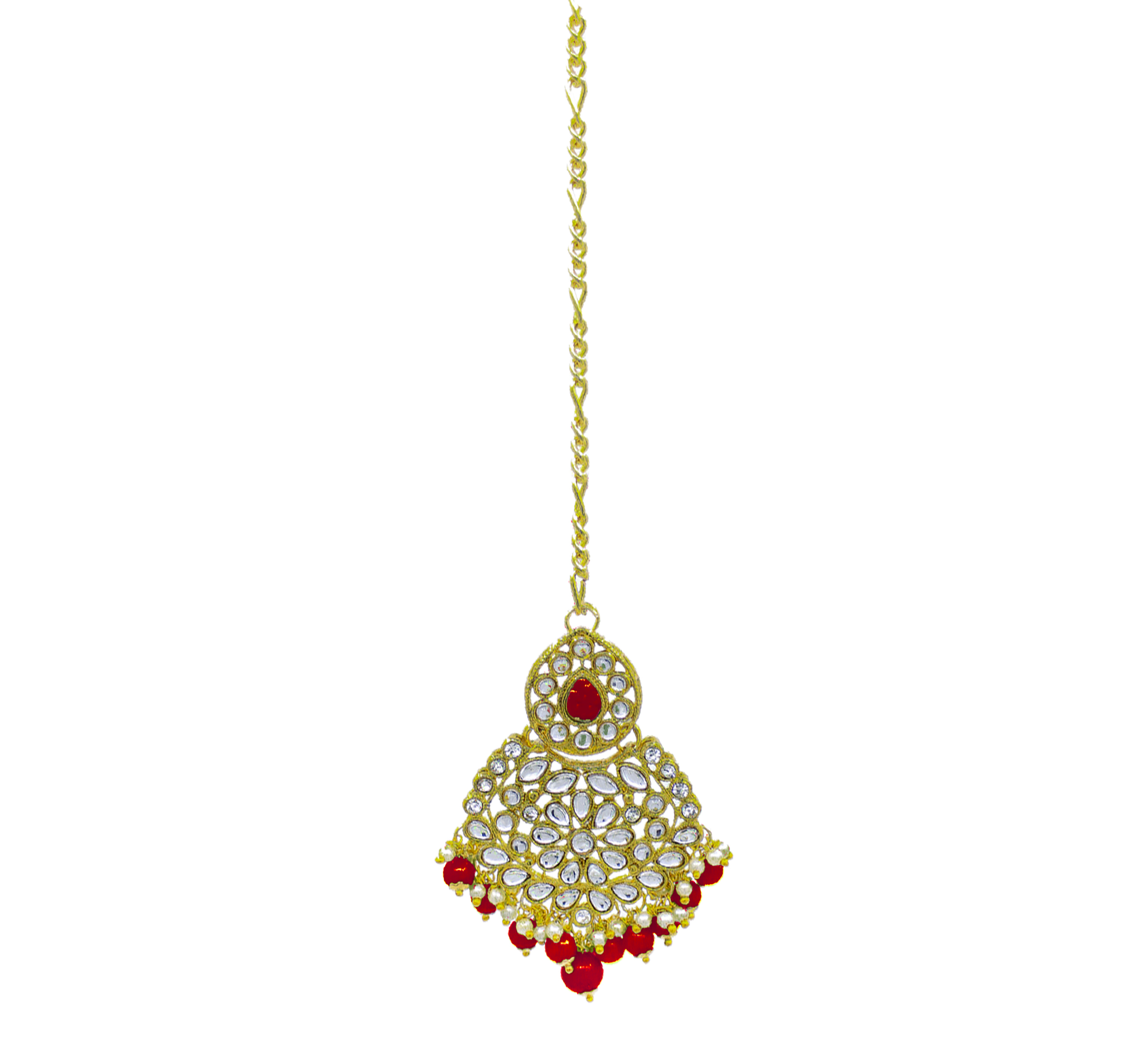 Wedding Collection Kundan Stone Work Gold Plated Red Color Choker Necklace Set