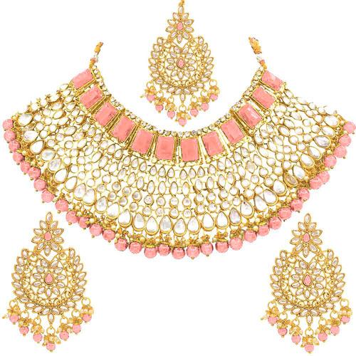 Ethnic Indian Gold Plated Kundan Jewelry Set With Choker Earrings Maang Tikka Set