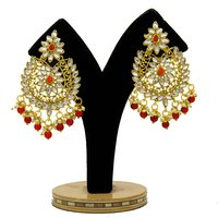 Gold Plated Kundan Jewelry Set With Red Color Choker Earrings Maang Tikka Set