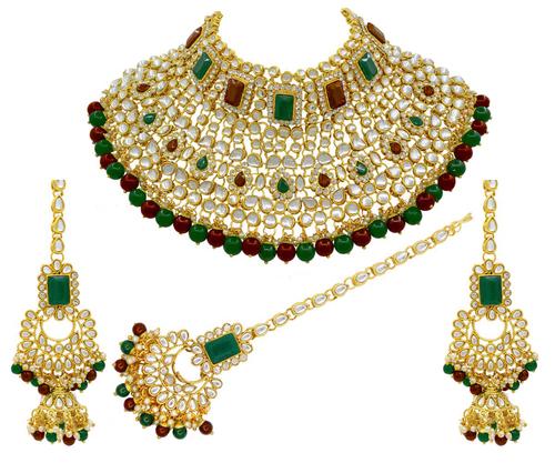 Indian Bridal Multi Color Kundan Choker Necklace Earring With Maangtikka Jewellery Set