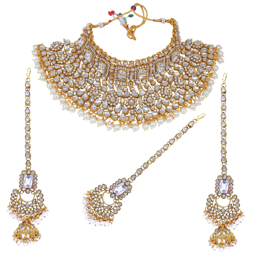 Indian Bridal White Kundan Choker Necklace Earring With Maangtikka Jewellery Set