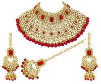 Indian Bridal Red Color Kundan Choker Necklace Earring With Maangtikka Jewellery Set