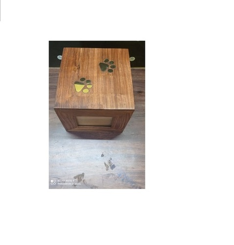 SQUARE WOOD PET URN WITH TWO PAWS FUNERAL SUPPLIES