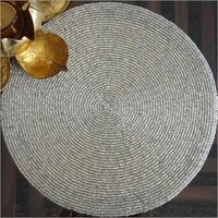 BEADED PLAIN SILVER ROUND PLACEMAT