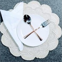 BEADED  WHITE PEARL  FLOWER PLACEMAT