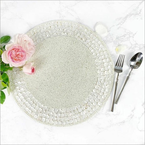 BEADED & MOTHER OF PEARL  ROUND PLACEMAT