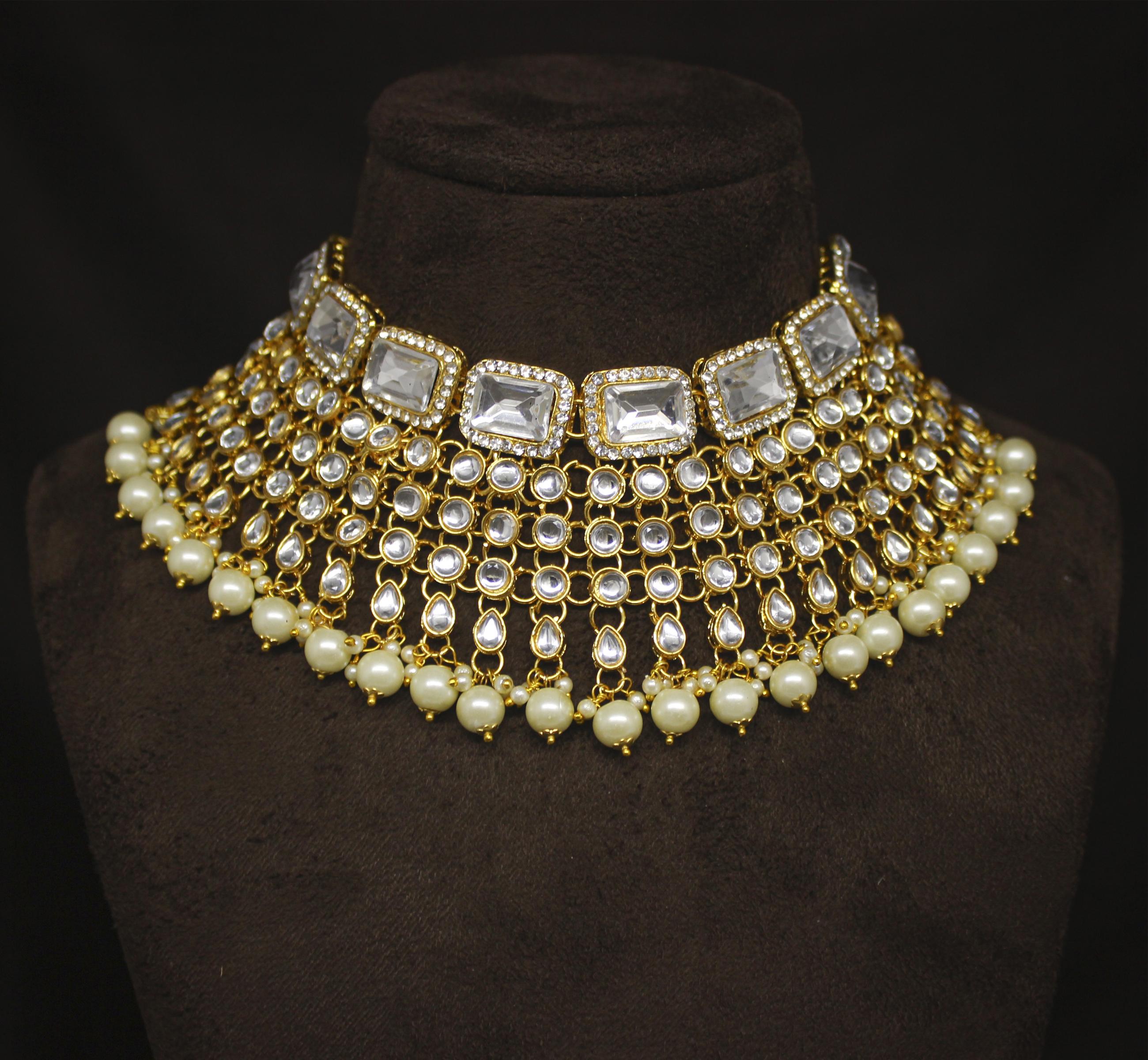 Party Wear Design Gorgeous look Kundan Stone Work Choker Necklace Set