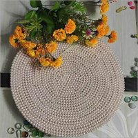BEADED PLAIN WHITE PEARL ROUND PLACEMAT