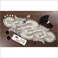 BEADED SILVER ROUND TABLE RUNNER