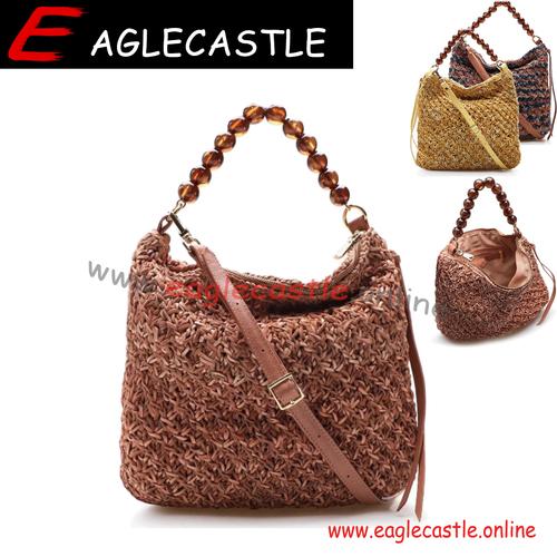 wholesale price handmade shoulder crochet bag tassel braided cotton rope beach messenger bag