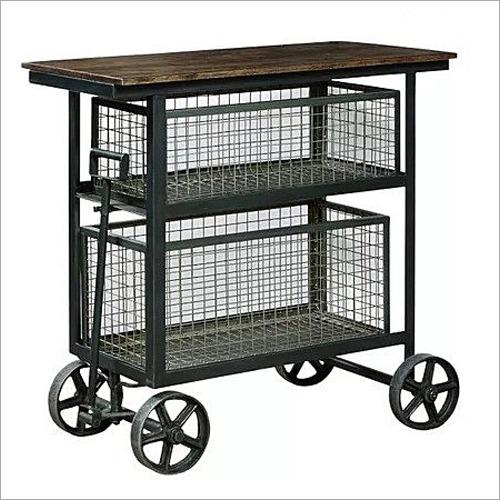 4 Wheel Accent Cart Sideboard Bar Trolley