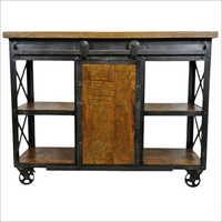 Vintage Wooden Iron Sideboard